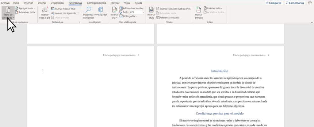 Insertar una tabla de contenidos para crear índice en Word